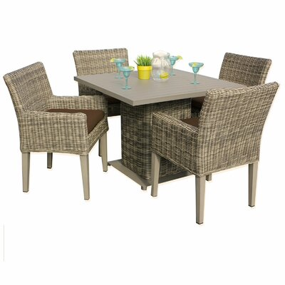 Cape Cod 5 Piece Dining Set with Cushions Cushion Color: Cocoa