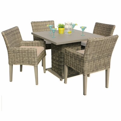 Cape Cod 5 Piece Dining Set with Cushions Cushion Color: Wheat