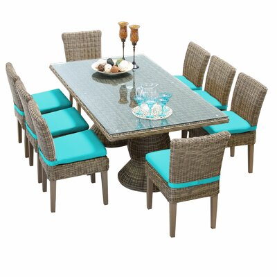 Cape Cod 9 Piece Dining Set with Cushions Cushion Color: Navy