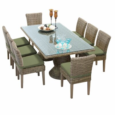 Cape Cod 9 Piece Dining Set with Cushions Cushion Color: Cilantro