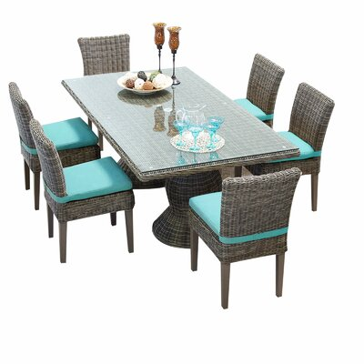 Cape Cod 7 Piece Dining Set with Cushions Cushion Color: Aruba