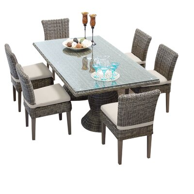Cape Cod 7 Piece Dining Set with Cushions Cushion Color: Beige
