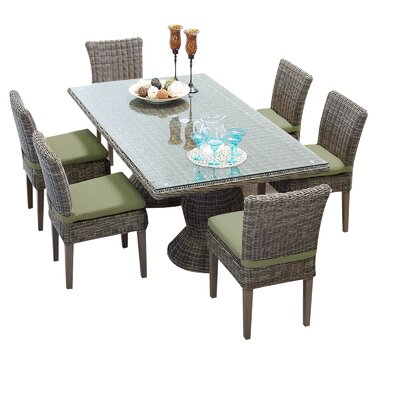 Cape Cod 7 Piece Dining Set with Cushions Cushion Color: Cilantro
