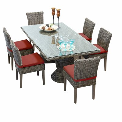 Cape Cod 7 Piece Dining Set with Cushions Cushion Color: Terracotta