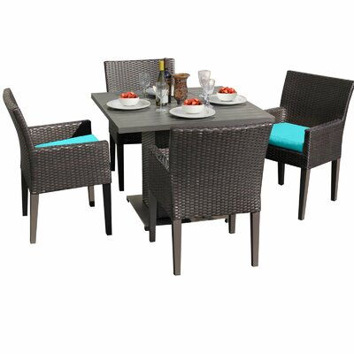 Napa 5 Piece Dining Set with Cushions Cushion Color: Navy
