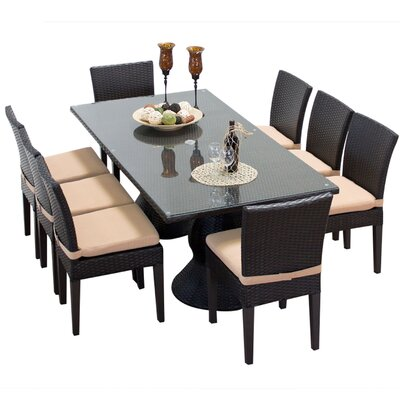 Napa 9 Piece Dining Set with Cushions Cushion Color: Wheat