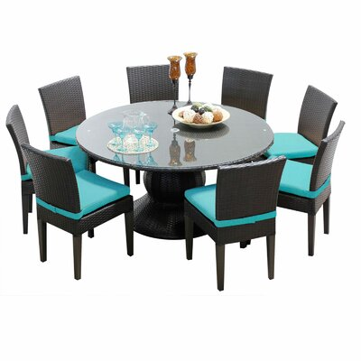 Napa 9 Piece Dining Set with Cushions Cushion Color: Navy
