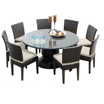 Napa 9 Piece Dining Set with Cushions Cushion Color: Beige