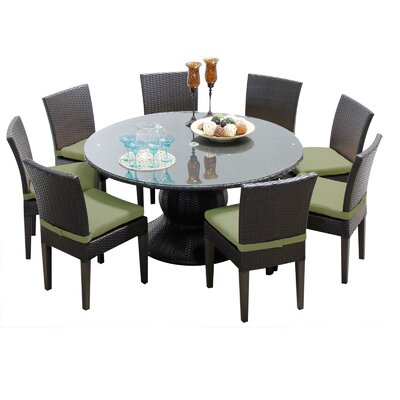 Napa 9 Piece Dining Set with Cushions Cushion Color: Cilantro