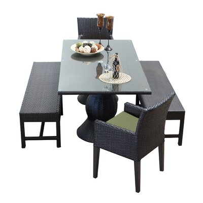 Napa 5 Piece Dining Set with Cushions Cushion Color: Cilantro