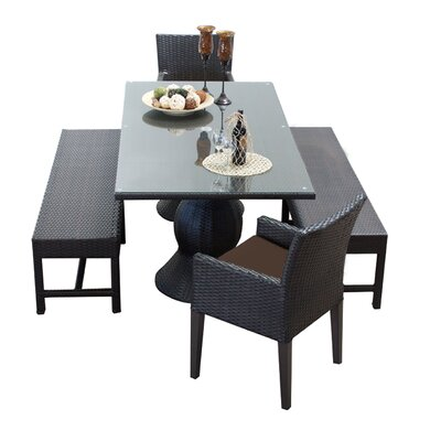 Napa 5 Piece Dining Set with Cushions Cushion Color: Cocoa