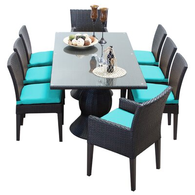Napa 9 Piece Dining Set with Cushions Cushion Color: White