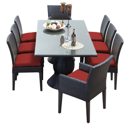 Napa 9 Piece Dining Set with Cushions Cushion Color: Terracotta
