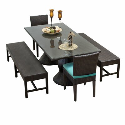 Napa 5 Piece Dining Set with Cushions Cushion Color: White