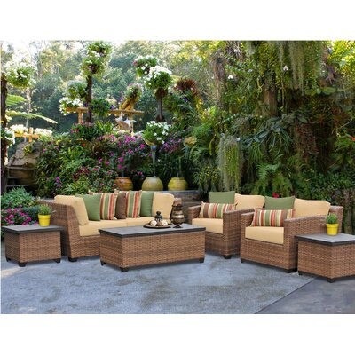Laguna 7 Piece Deep Seating Group with Cushion Fabric: Sesame
