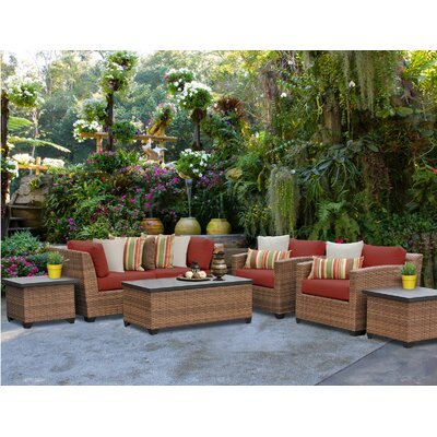 Laguna 7 Piece Deep Seating Group with Cushion Fabric: Terracotta