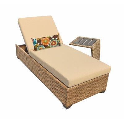 Laguna 2 Piece Chaise Lounge Set with Cushion Fabric: Sesame