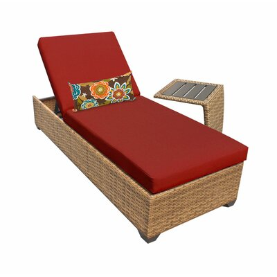 Laguna 2 Piece Chaise Lounge Set with Cushion Fabric: Terracotta