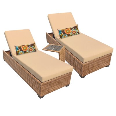 Laguna 3 Piece Chaise Lounge Set with Cushion Fabric: Sesame