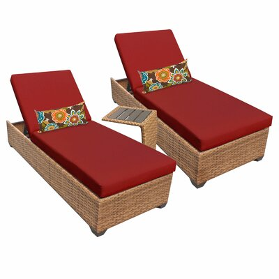 Laguna 3 Piece Chaise Lounge Set with Cushion Fabric: Terracotta