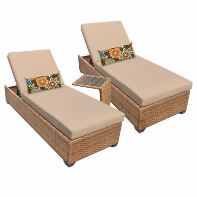 Laguna 3 Piece Chaise Lounge Set with Cushion Fabric: Wheat