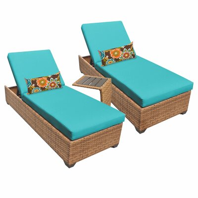 Laguna 3 Piece Chaise Lounge Set with Cushion Fabric: Aruba