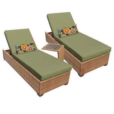 Laguna 3 Piece Chaise Lounge Set with Cushion Fabric: Cilantro
