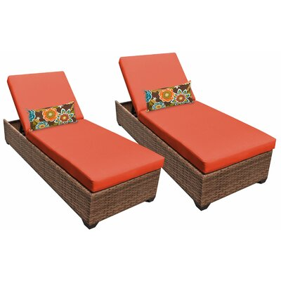 Laguna Chaise Lounge with Cushion Fabric: Tangerine