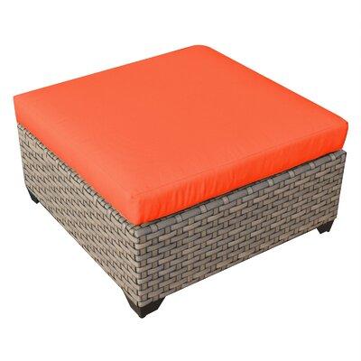 Monterey Ottoman with Cushion Fabric: Tangerine