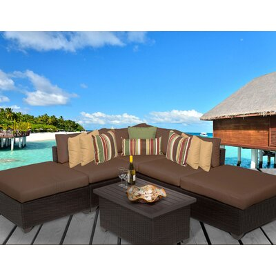 Belle 6 Piece Deep Seating Group with Cushion Fabric: Cocoa