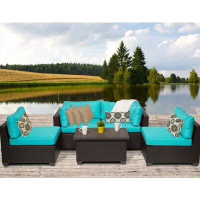 Belle 5 Piece Deep Seating Group with Cushion Fabric: Aruba
