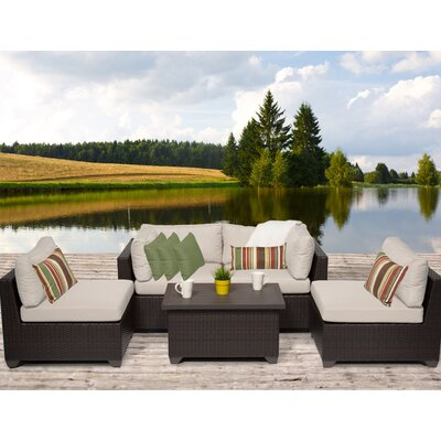 Belle 5 Piece Deep Seating Group with Cushion Fabric: Beige