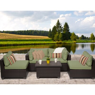 Belle 5 Piece Deep Seating Group with Cushion Fabric: Cilantro