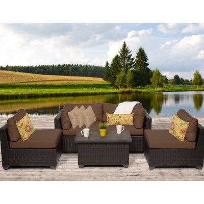 Belle 5 Piece Deep Seating Group with Cushion Fabric: Cocoa