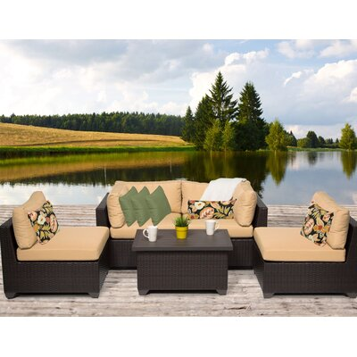 Belle 5 Piece Deep Seating Group with Cushion Fabric: Sesame