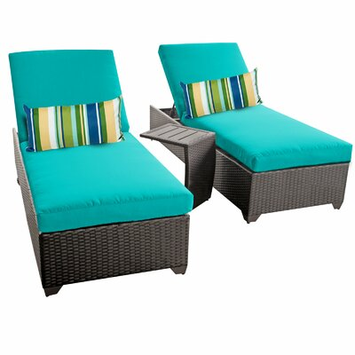 Classic 3 Piece Chaise Lounge Set with Cushion Fabric: Aruba