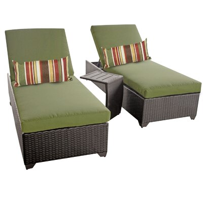 Classic 3 Piece Chaise Lounge Set with Cushion Fabric: Cilantro