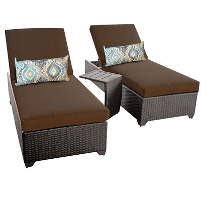 Classic 3 Piece Chaise Lounge Set with Cushion Fabric: Cocoa