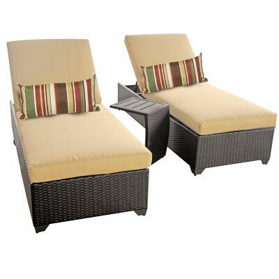Classic 3 Piece Chaise Lounge Set with Cushion Fabric: Sesame