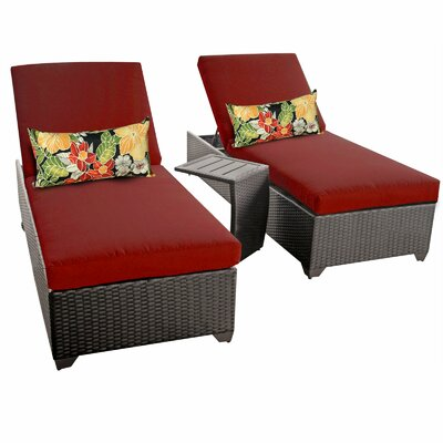 Classic 3 Piece Chaise Lounge Set with Cushion Fabric: Terracotta
