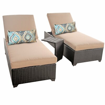 Classic 3 Piece Chaise Lounge Set with Cushion Fabric: Wheat