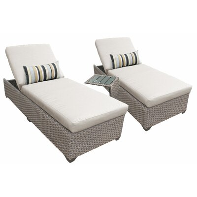 3 Piece Chaise Lounge Set with Cushion Fabric: Beige
