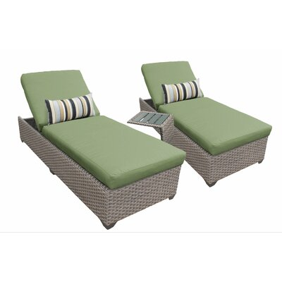 3 Piece Chaise Lounge Set with Cushion Fabric: Cilantro