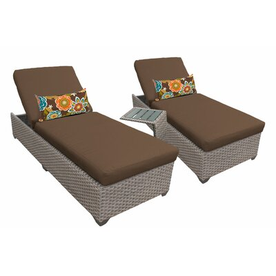 3 Piece Chaise Lounge Set with Cushion Fabric: Cocoa