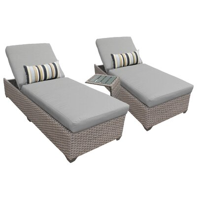 3 Piece Chaise Lounge Set with Cushion Fabric: Gray