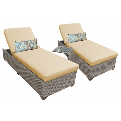 3 Piece Chaise Lounge Set with Cushion Fabric: Sesame
