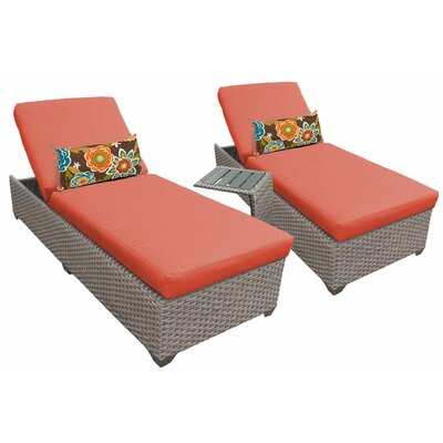 3 Piece Chaise Lounge Set with Cushion Fabric: Tangerine