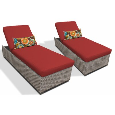 Chaise Lounge with Cushion Fabric: Terracotta