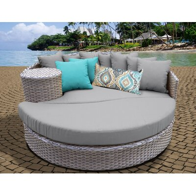 Daybed with Cushions Fabric: Gray
