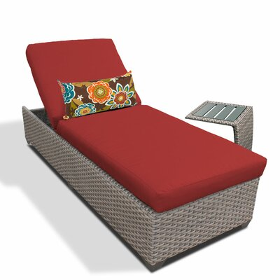 2 Piece Chaise Lounge Set with Cushion Fabric: Terracotta